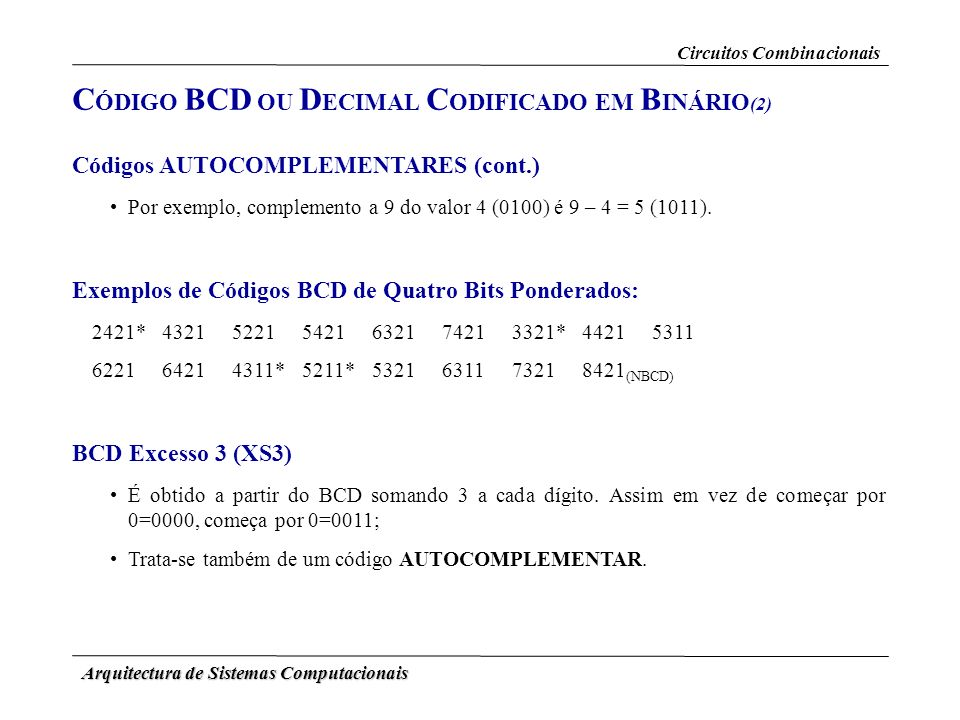 CÓDIGO BCD OU DECIMAL CODIFICADO EM BINÁRIO(2)