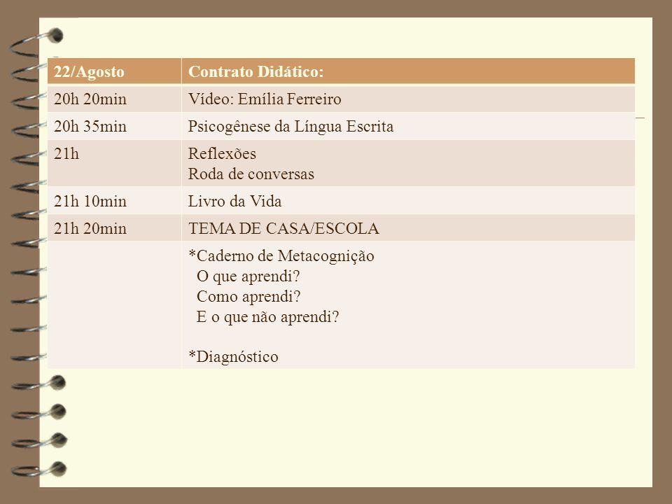 22/Agosto Contrato Didático: 20h 20min. Vídeo: Emília Ferreiro. 20h 35min. Psicogênese da Língua Escrita.