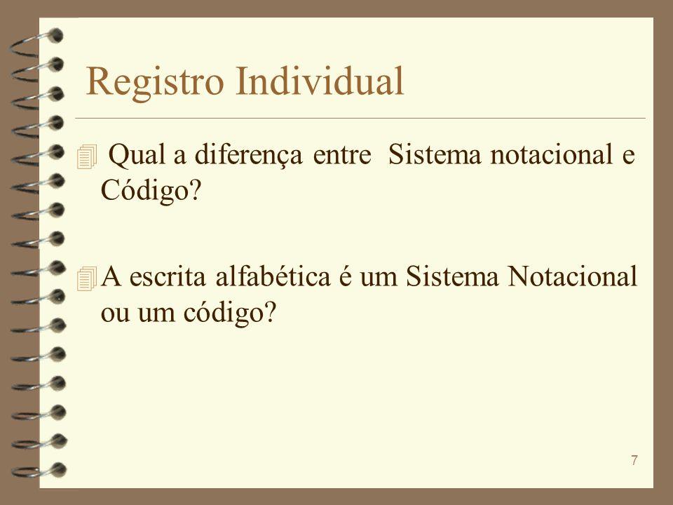 Registro Individual Qual a diferença entre Sistema notacional e Código.