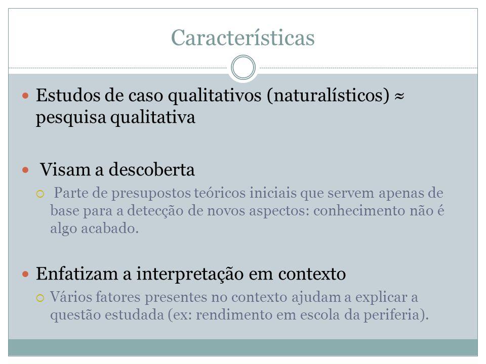 Características Estudos de caso qualitativos (naturalísticos) ≈ pesquisa qualitativa. Visam a descoberta.