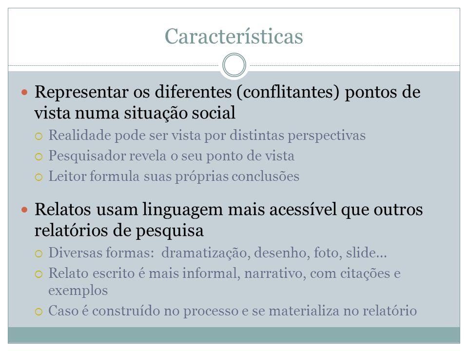 Características Representar os diferentes (conflitantes) pontos de vista numa situação social. Realidade pode ser vista por distintas perspectivas.