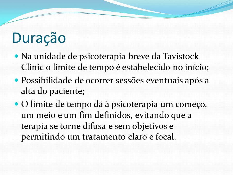 Duração Na unidade de psicoterapia breve da Tavistock Clinic o limite de tempo é estabelecido no início;
