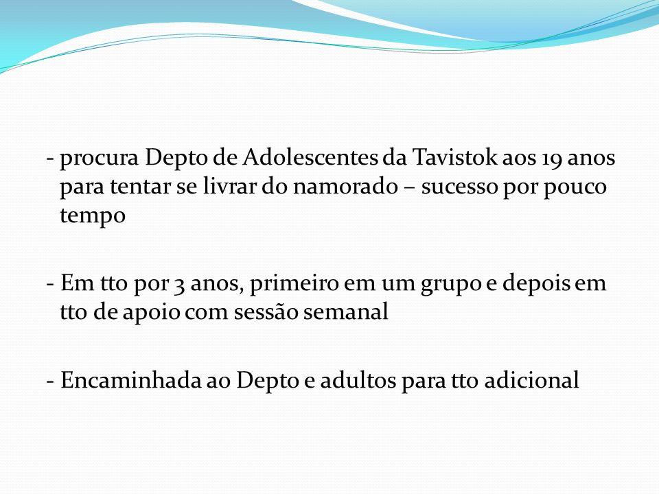 - procura Depto de Adolescentes da Tavistok aos 19 anos para tentar se livrar do namorado – sucesso por pouco tempo