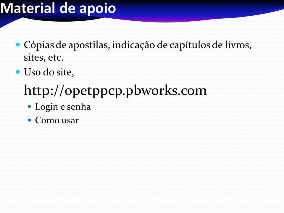 Material de apoio Cópias de apostilas, indicação de capítulos de livros, sites, etc. Uso do site, http://opetppcp.pbworks.com.