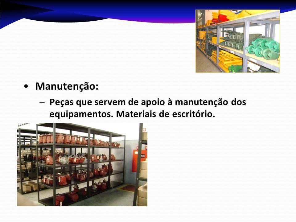 Manutenção: Peças que servem de apoio à manutenção dos equipamentos. Materiais de escritório.