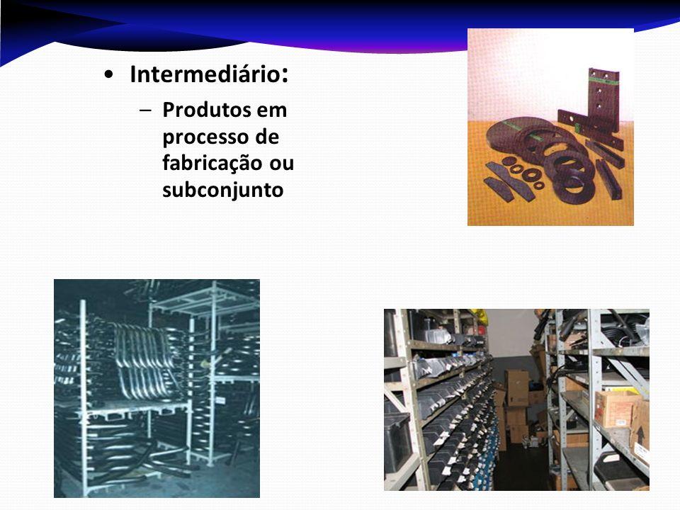 Intermediário: Produtos em processo de fabricação ou subconjunto
