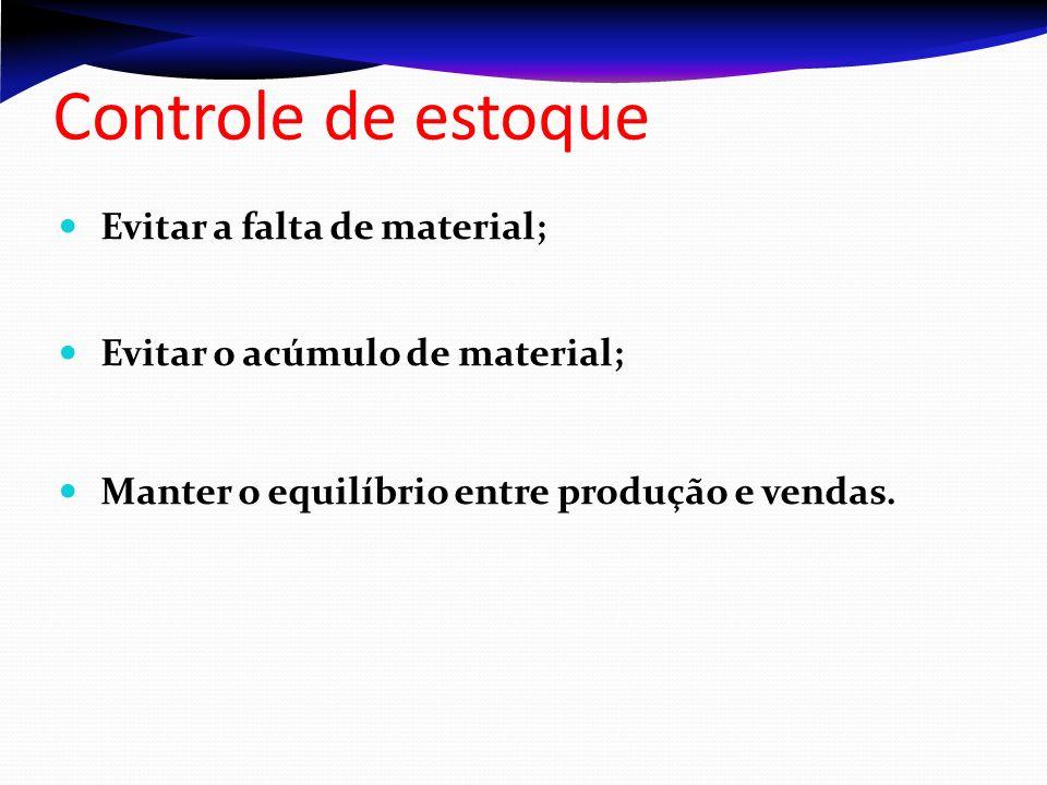 Controle de estoque Evitar a falta de material;