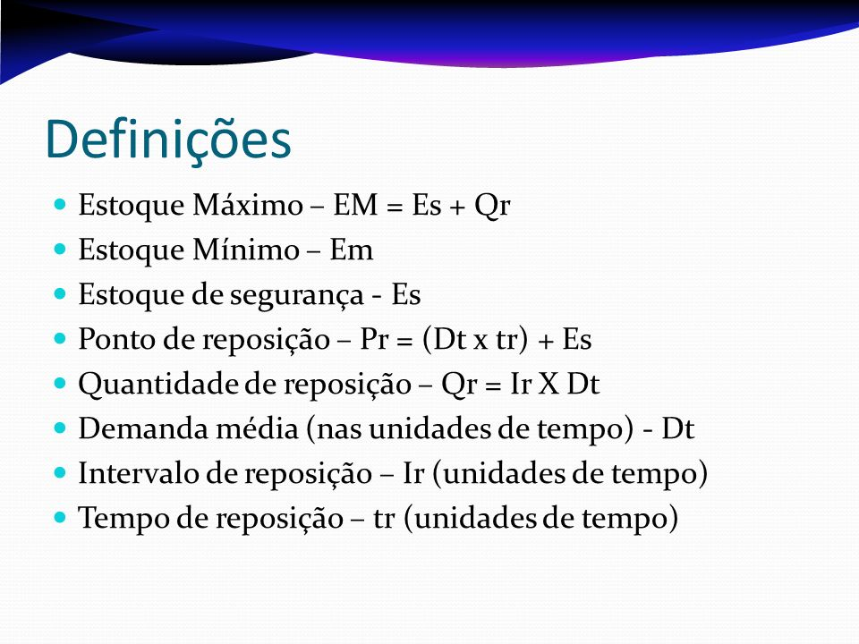 Definições Estoque Máximo – EM = Es + Qr Estoque Mínimo – Em