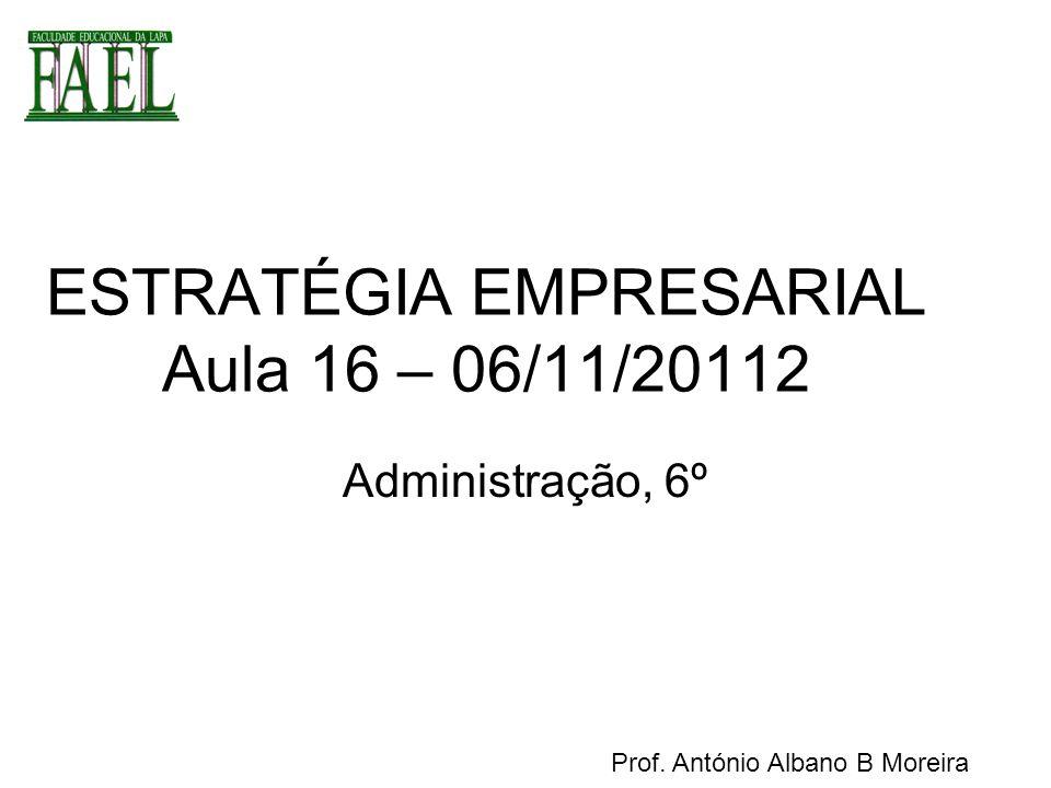 ESTRATÉGIA EMPRESARIAL Aula 16 – 06/11/20112
