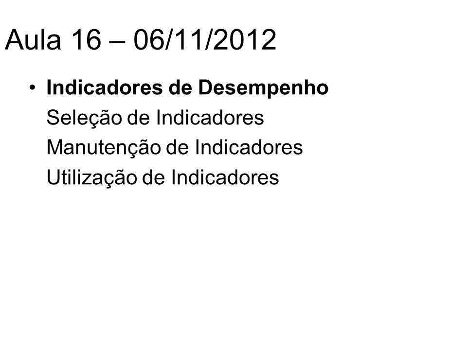 Aula 16 – 06/11/2012 Indicadores de Desempenho Seleção de Indicadores