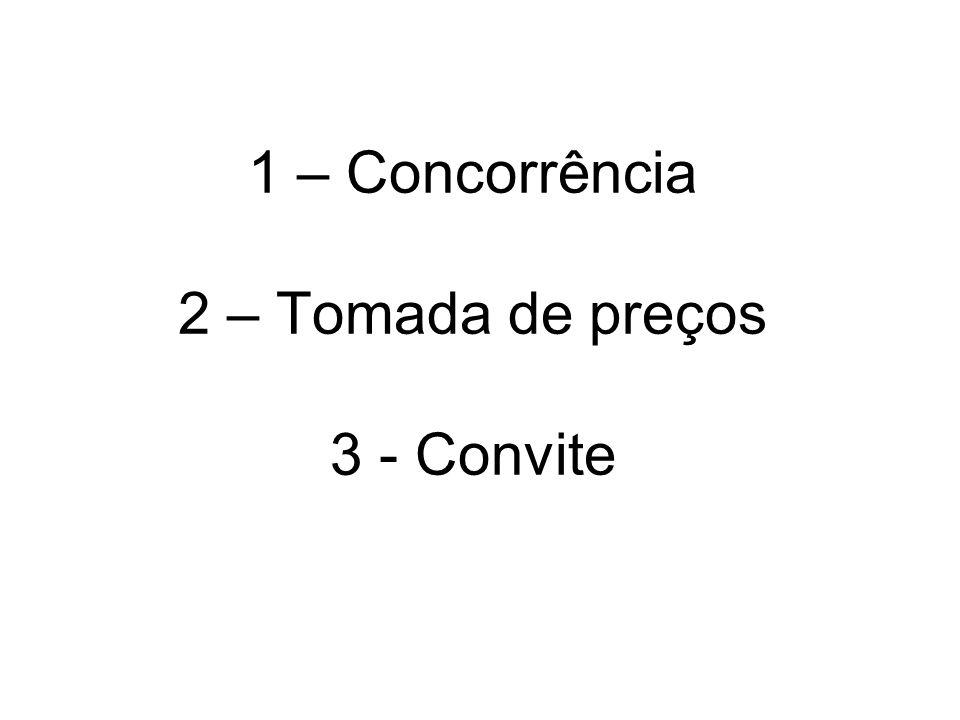 1 – Concorrência 2 – Tomada de preços 3 - Convite