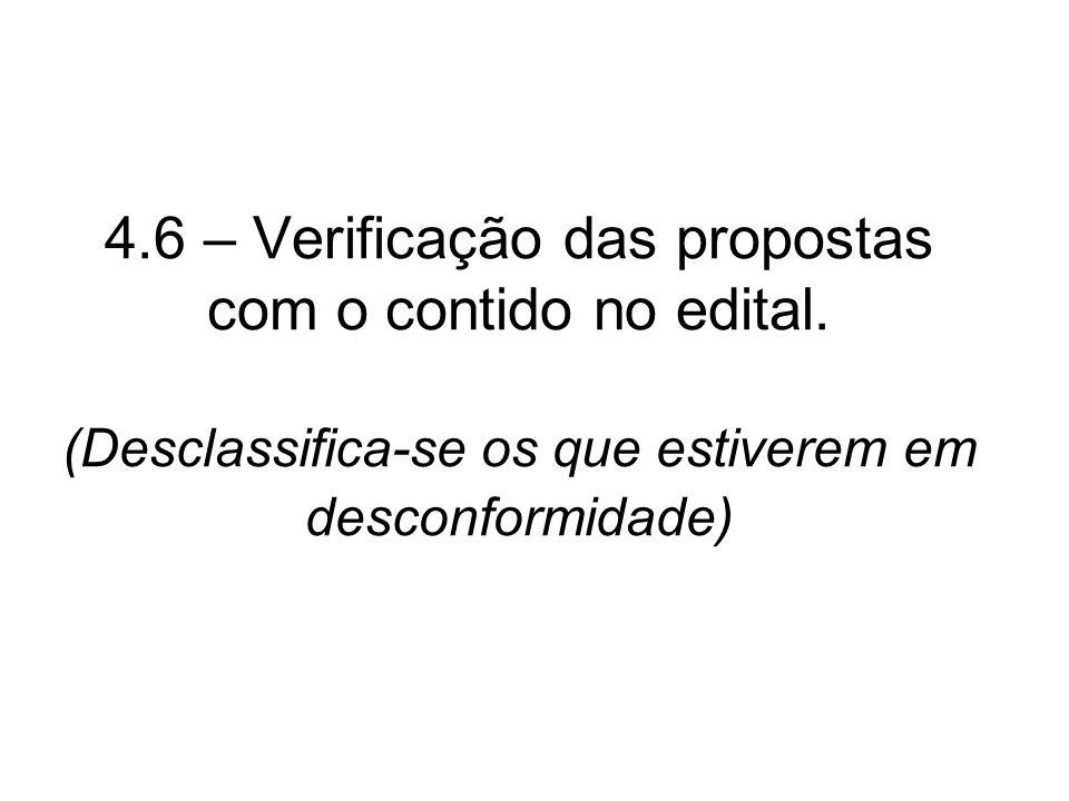 4. 6 – Verificação das propostas com o contido no edital