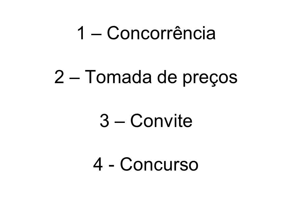1 – Concorrência 2 – Tomada de preços 3 – Convite 4 - Concurso