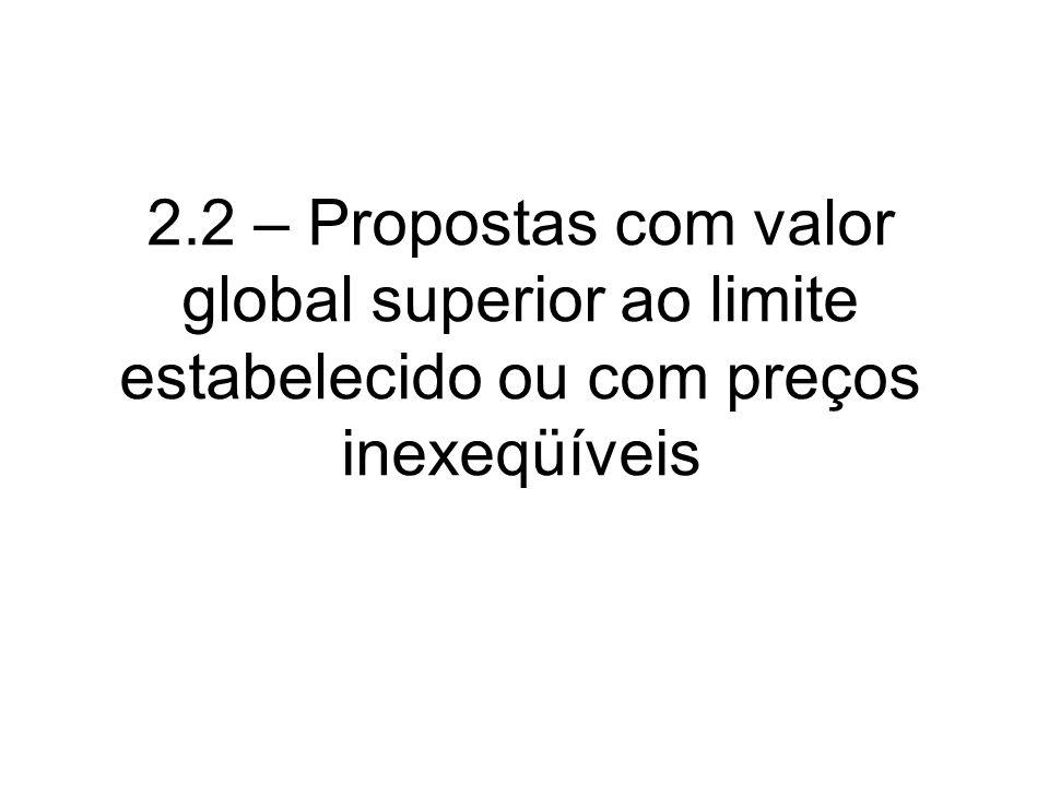 2.2 – Propostas com valor global superior ao limite estabelecido ou com preços inexeqüíveis