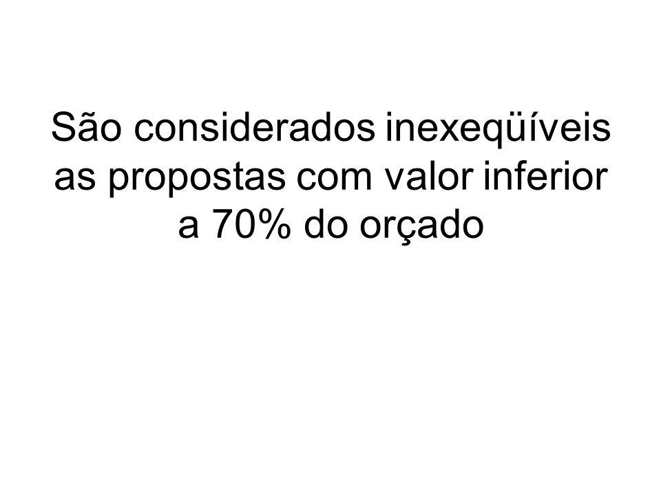 São considerados inexeqüíveis as propostas com valor inferior a 70% do orçado