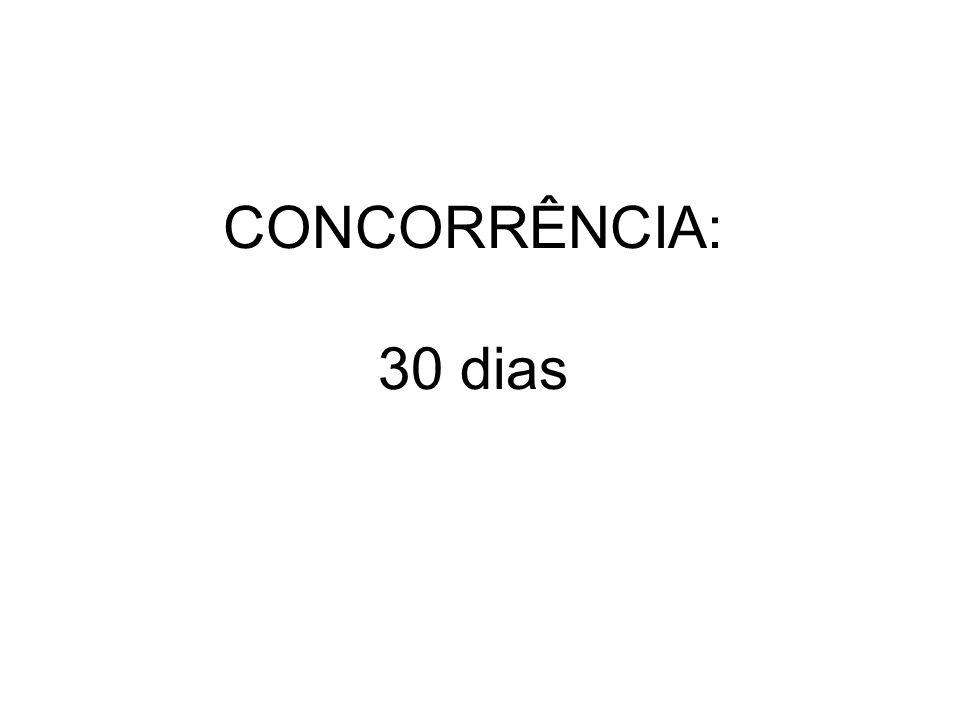CONCORRÊNCIA: 30 dias
