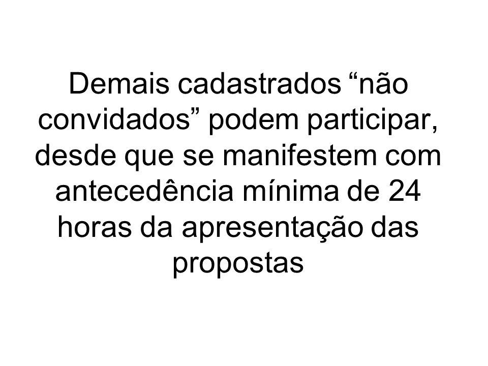 Demais cadastrados não convidados podem participar, desde que se manifestem com antecedência mínima de 24 horas da apresentação das propostas