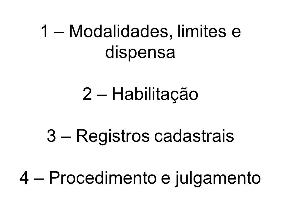 1 – Modalidades, limites e dispensa 2 – Habilitação 3 – Registros cadastrais 4 – Procedimento e julgamento