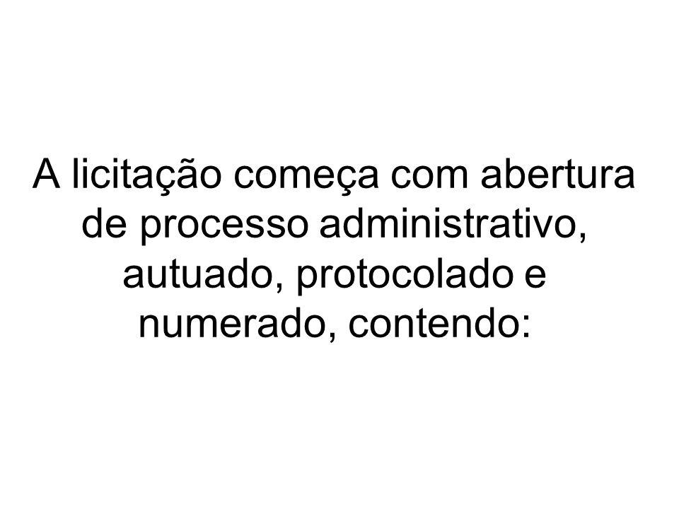 A licitação começa com abertura de processo administrativo, autuado, protocolado e numerado, contendo: