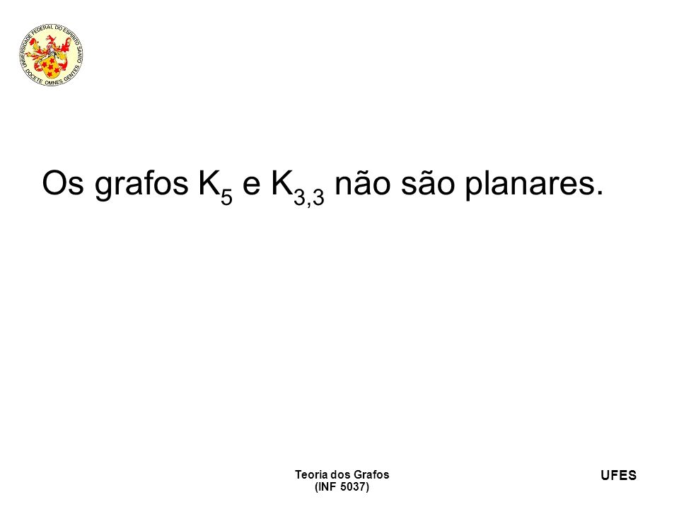 Os grafos K5 e K3,3 não são planares.