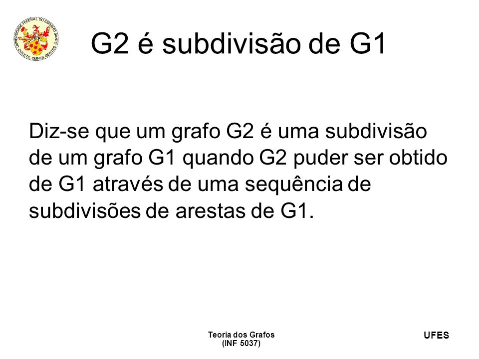 G2 é subdivisão de G1