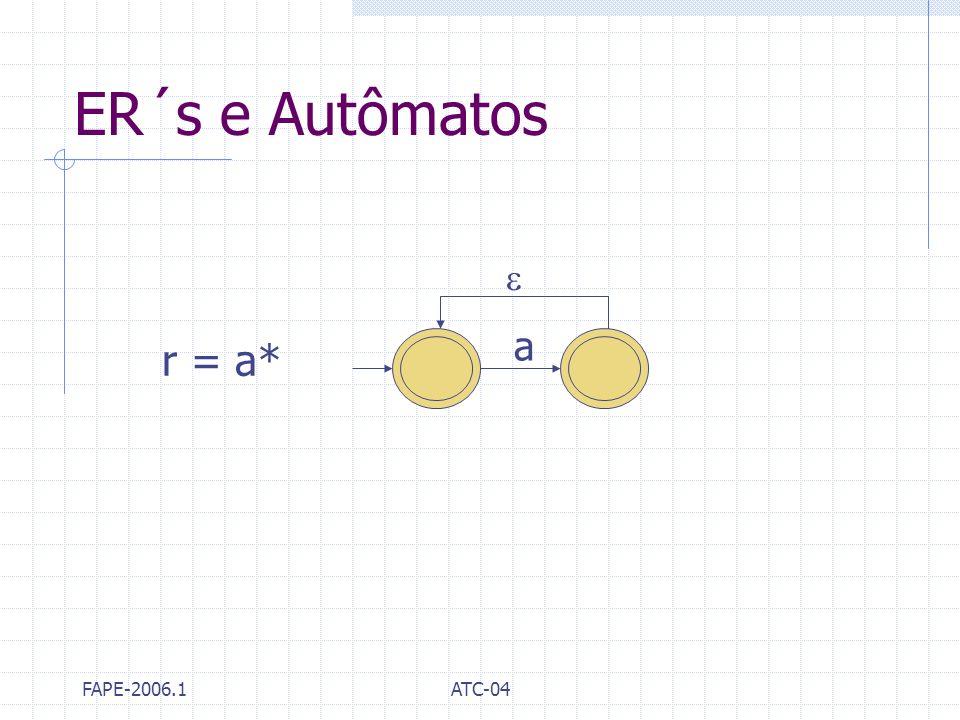 ER´s e Autômatos  a r = a* FAPE-2006.1 ATC-04