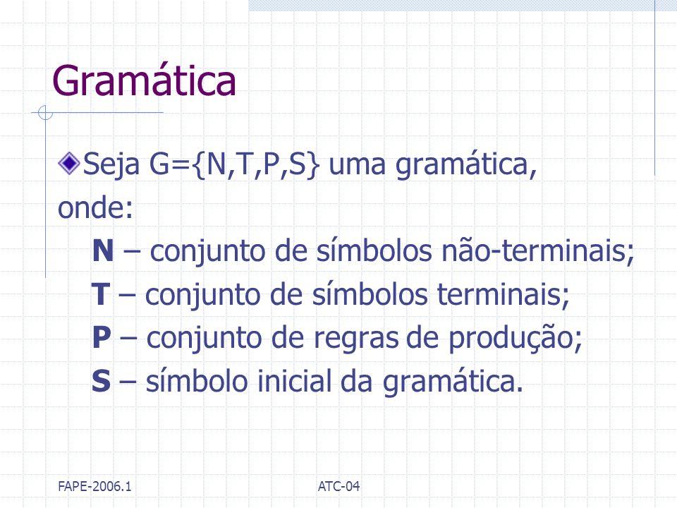 Gramática Seja G={N,T,P,S} uma gramática, onde: