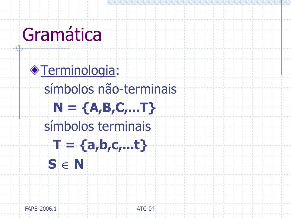 Gramática Terminologia: símbolos não-terminais N = {A,B,C,...T}