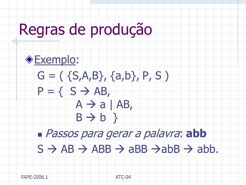 Regras de produção Exemplo: G = ( {S,A,B}, {a,b}, P, S )