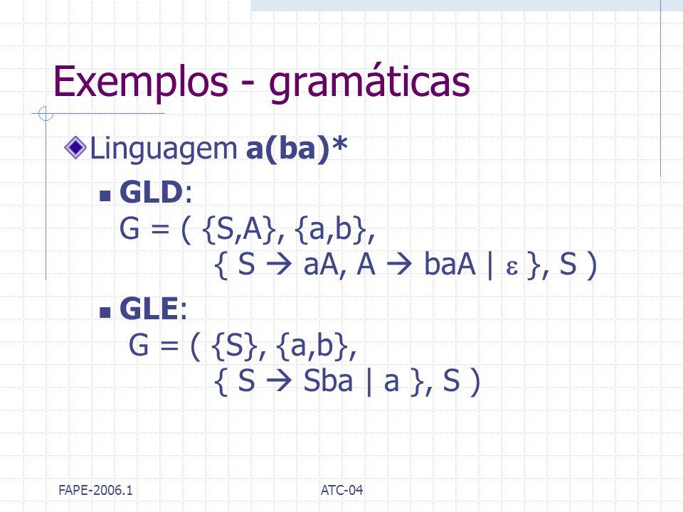 Exemplos - gramáticas Linguagem a(ba)*