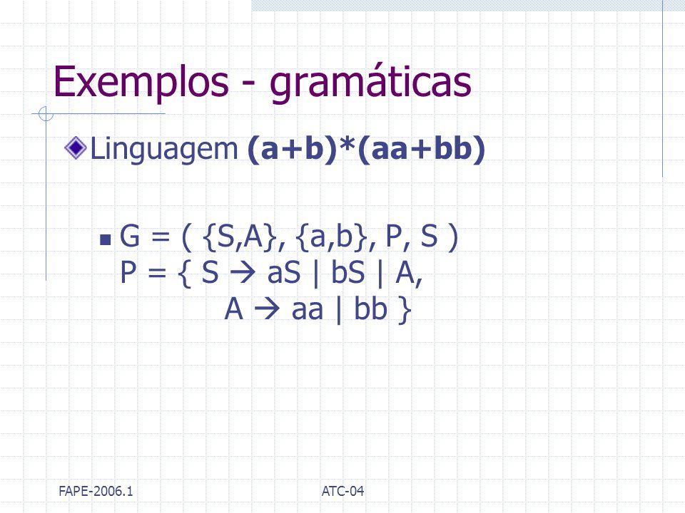 Exemplos - gramáticas Linguagem (a+b)*(aa+bb)