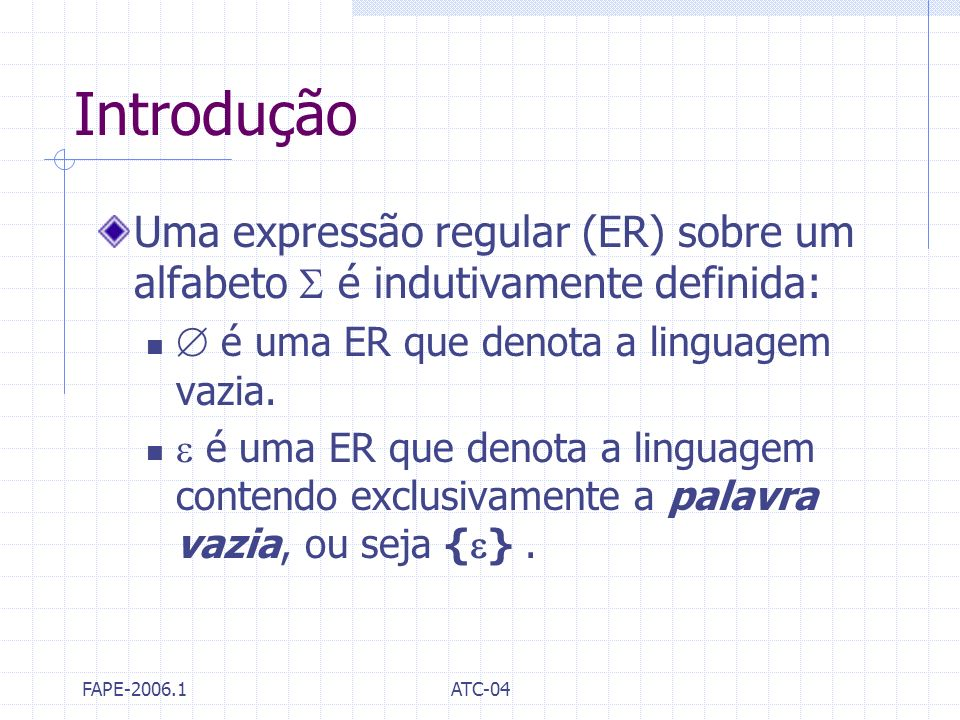 Introdução Uma expressão regular (ER) sobre um alfabeto  é indutivamente definida:  é uma ER que denota a linguagem vazia.