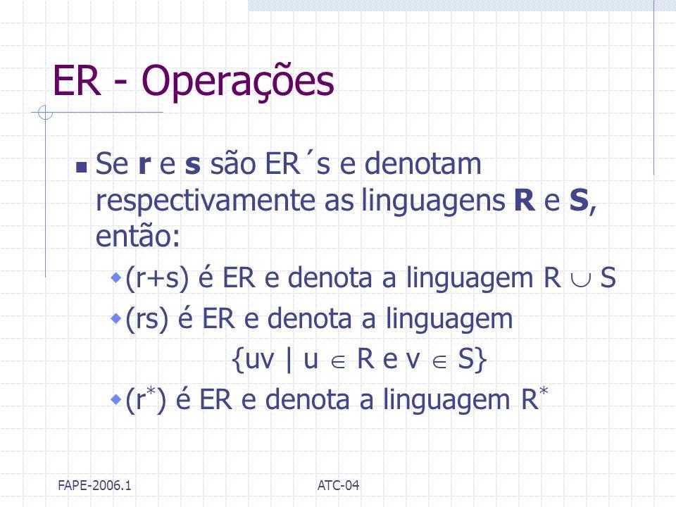 ER - Operações Se r e s são ER´s e denotam respectivamente as linguagens R e S, então: (r+s) é ER e denota a linguagem R  S.