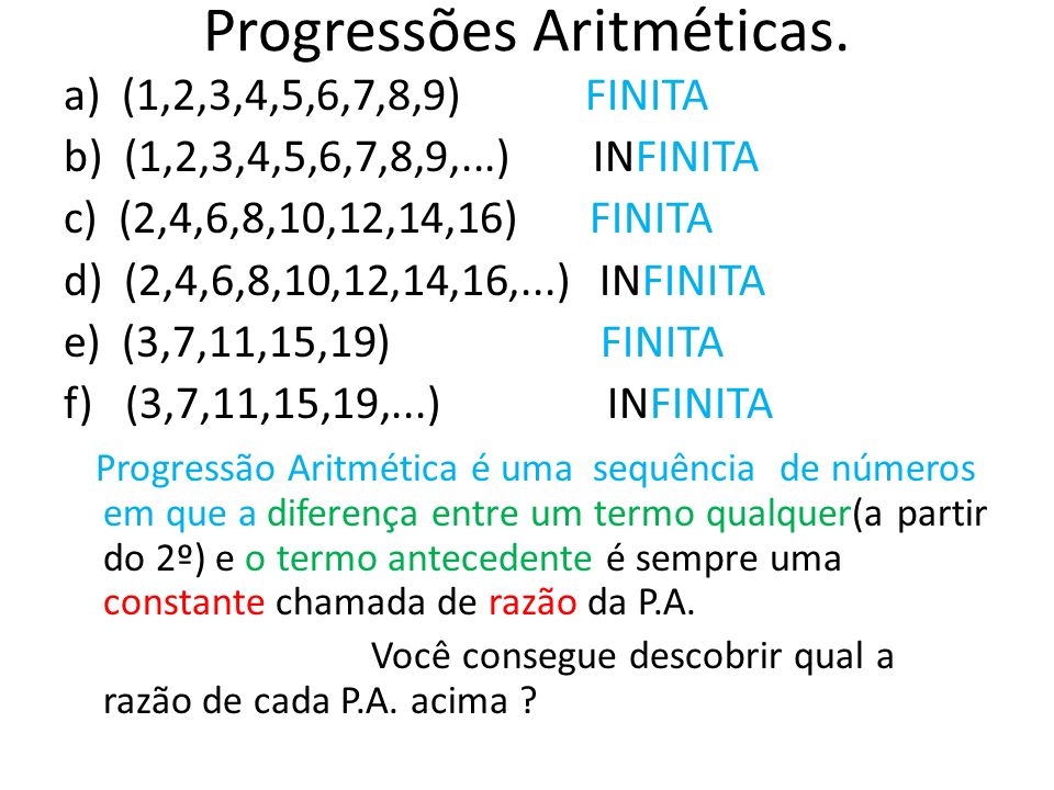 Progressões Aritméticas.