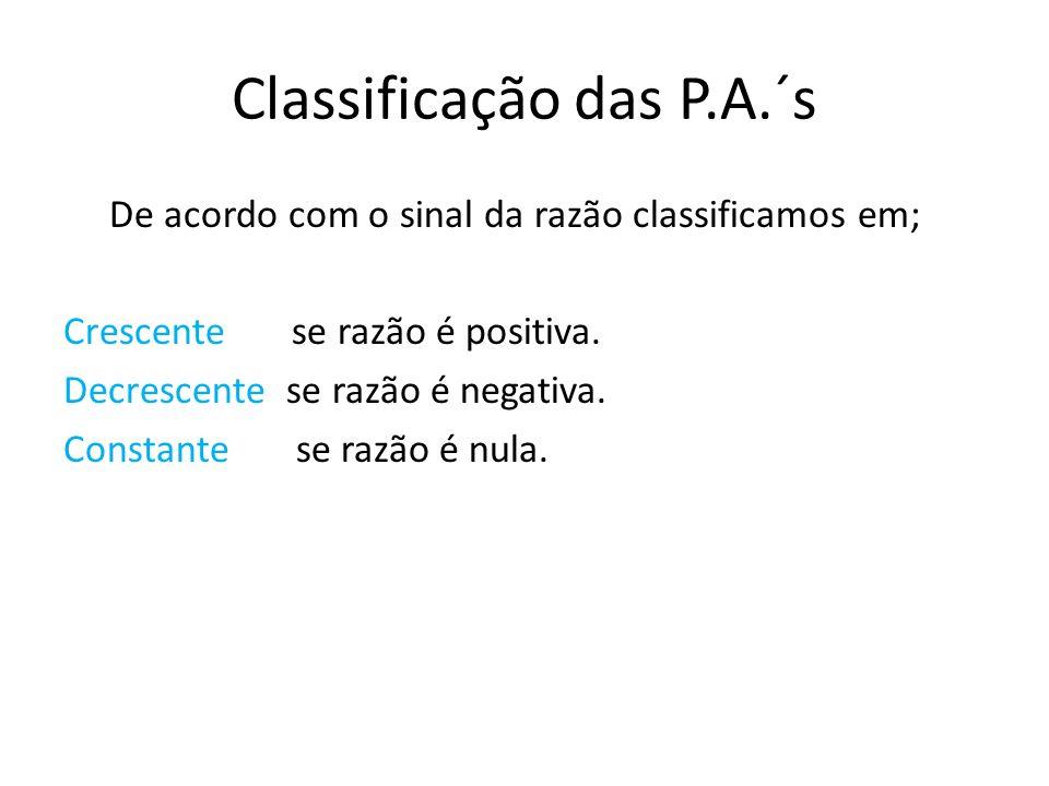 Classificação das P.A.´s