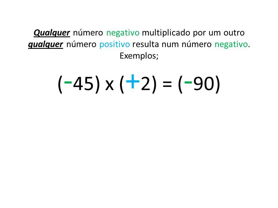 Qualquer número negativo multiplicado por um outro qualquer número positivo resulta num número negativo.