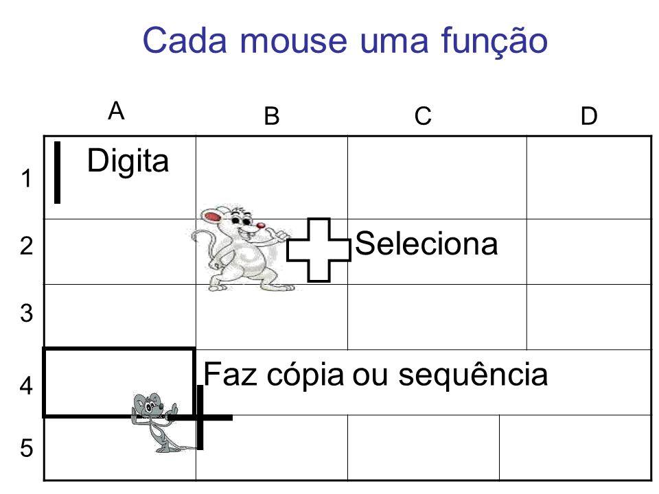 Cada mouse uma função Seleciona Faz cópia ou sequência A B C D Digita