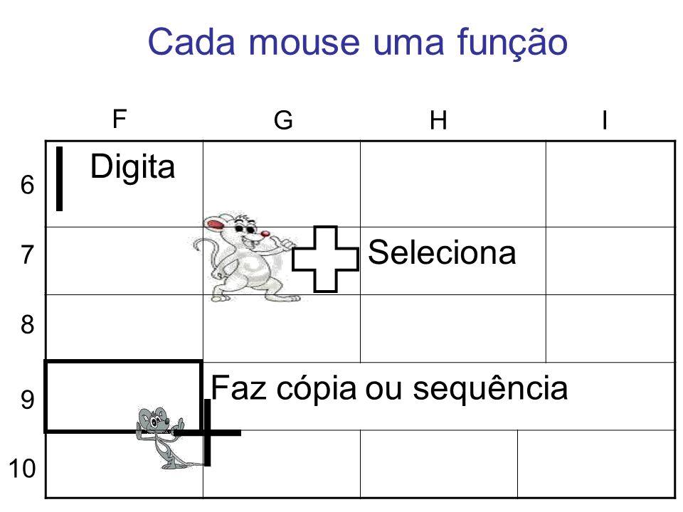 Cada mouse uma função Seleciona Faz cópia ou sequência F G H I Digita