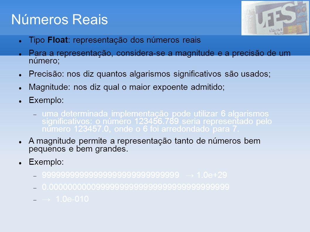 Números Reais Tipo Float: representação dos números reais