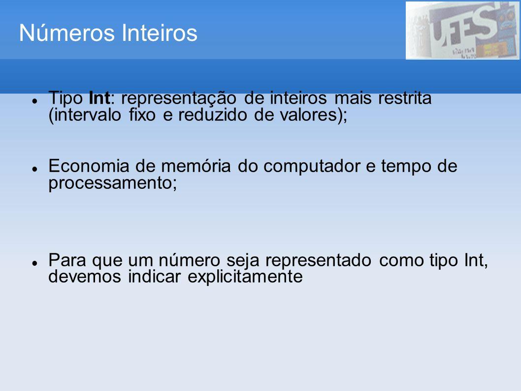 Números InteirosTipo Int: representação de inteiros mais restrita (intervalo fixo e reduzido de valores);