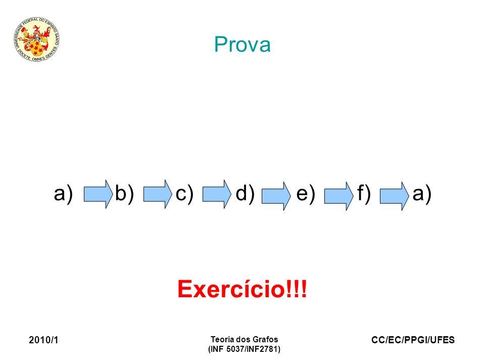 Exercício!!! Prova a) b) c) d) e) f) a) 2010/1 Teoria dos Grafos