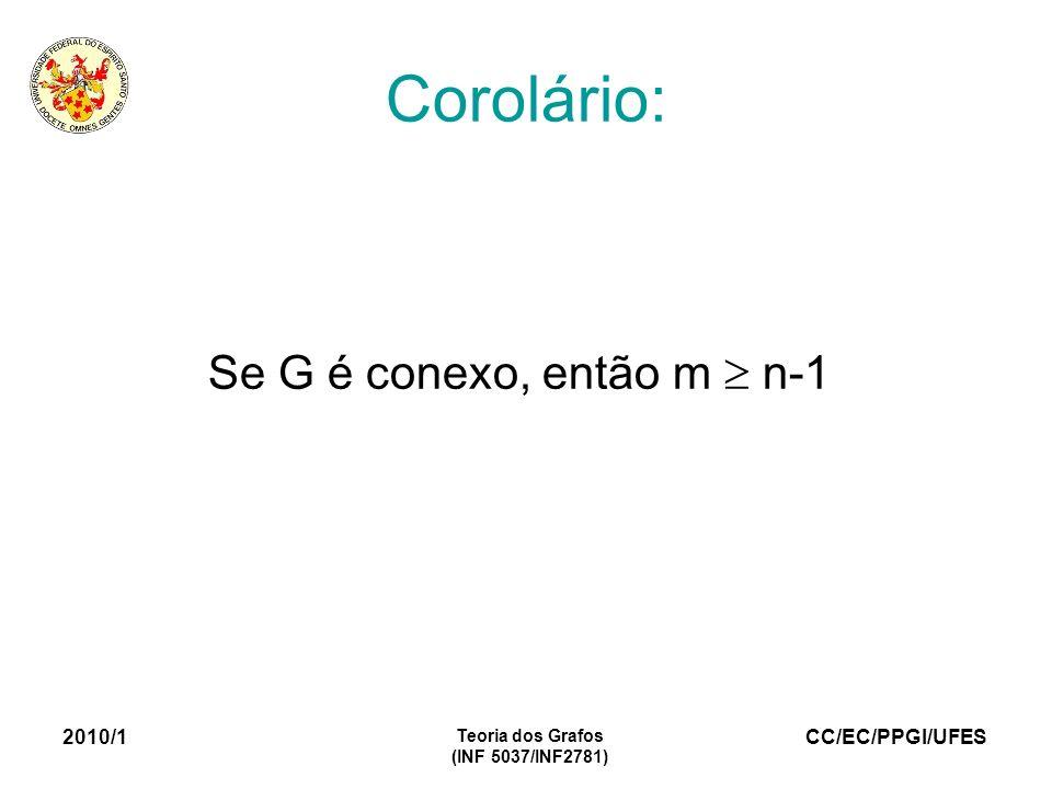 Corolário: Se G é conexo, então m  n-1 2010/1 Teoria dos Grafos