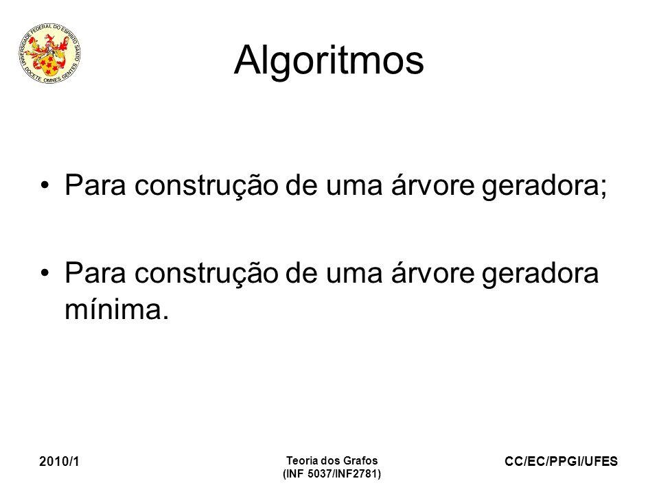Algoritmos Para construção de uma árvore geradora;