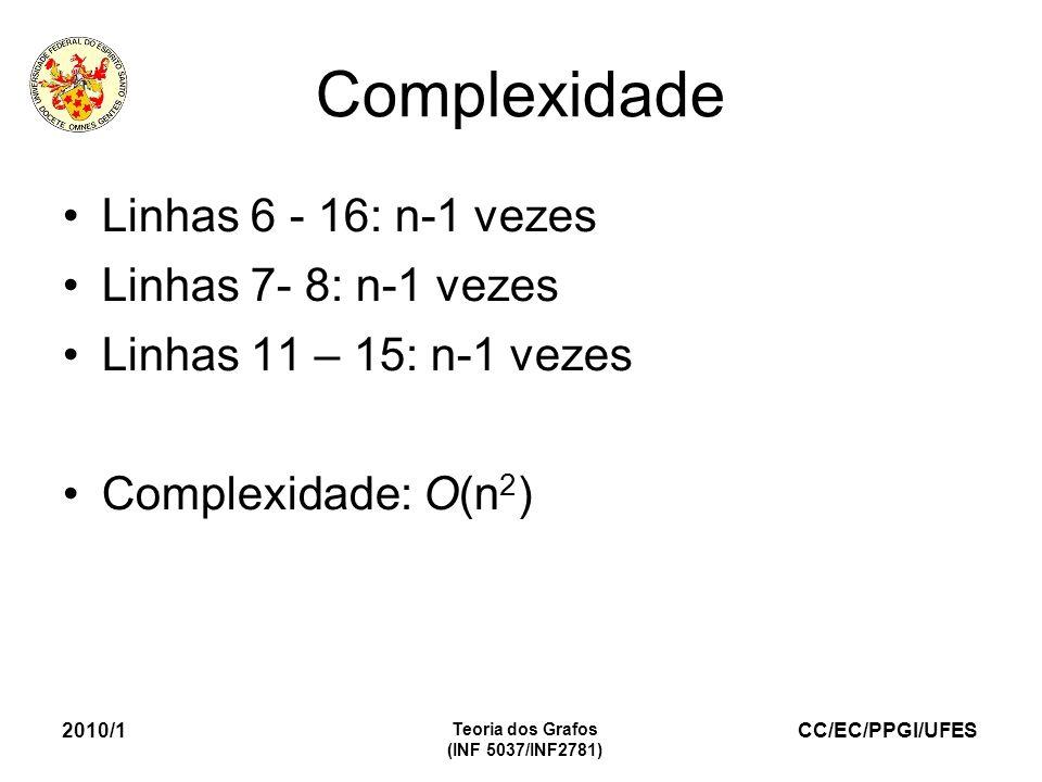 Complexidade Linhas 6 - 16: n-1 vezes Linhas 7- 8: n-1 vezes