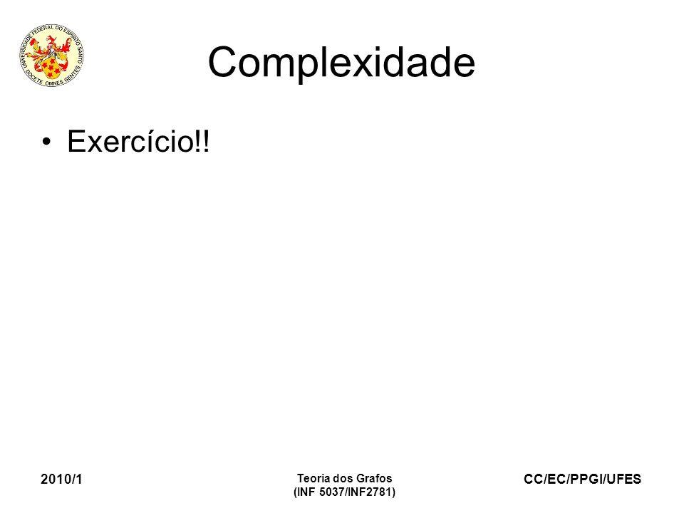 Complexidade Exercício!! 2010/1 Teoria dos Grafos (INF 5037/INF2781)
