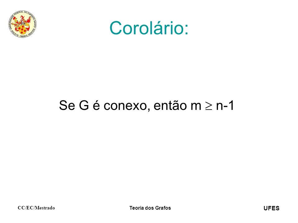 Corolário: Se G é conexo, então m  n-1 CC/EC/Mestrado