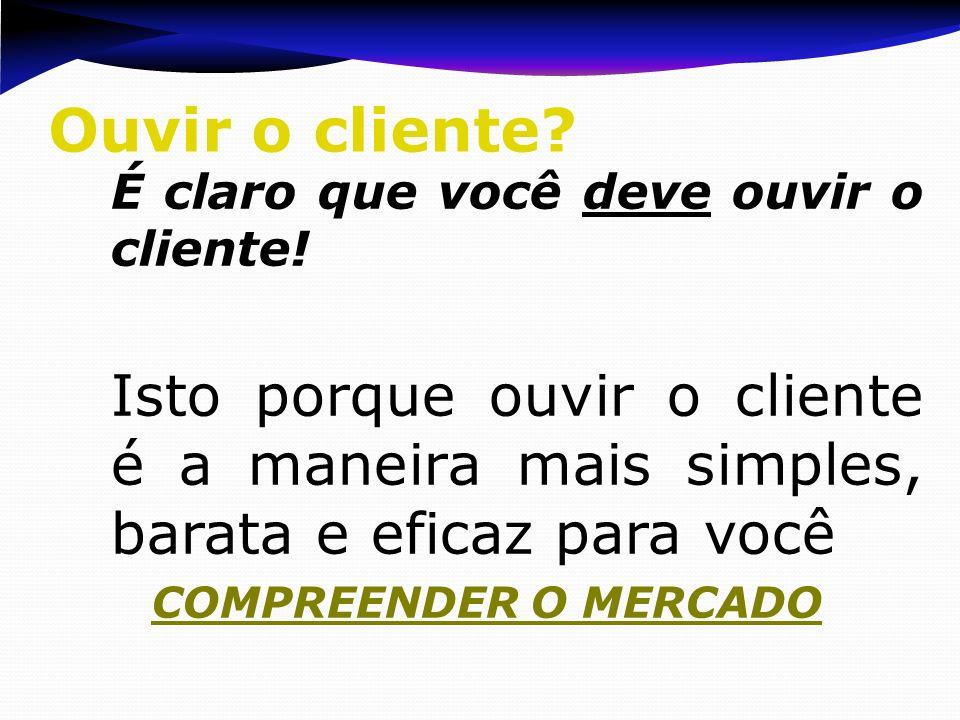 Ouvir o cliente É claro que você deve ouvir o cliente! Isto porque ouvir o cliente é a maneira mais simples, barata e eficaz para você.