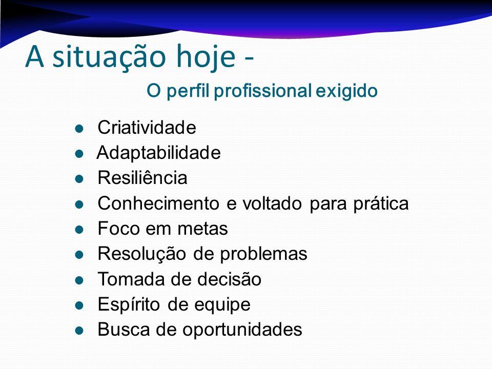 A situação hoje - O perfil profissional exigido Criatividade