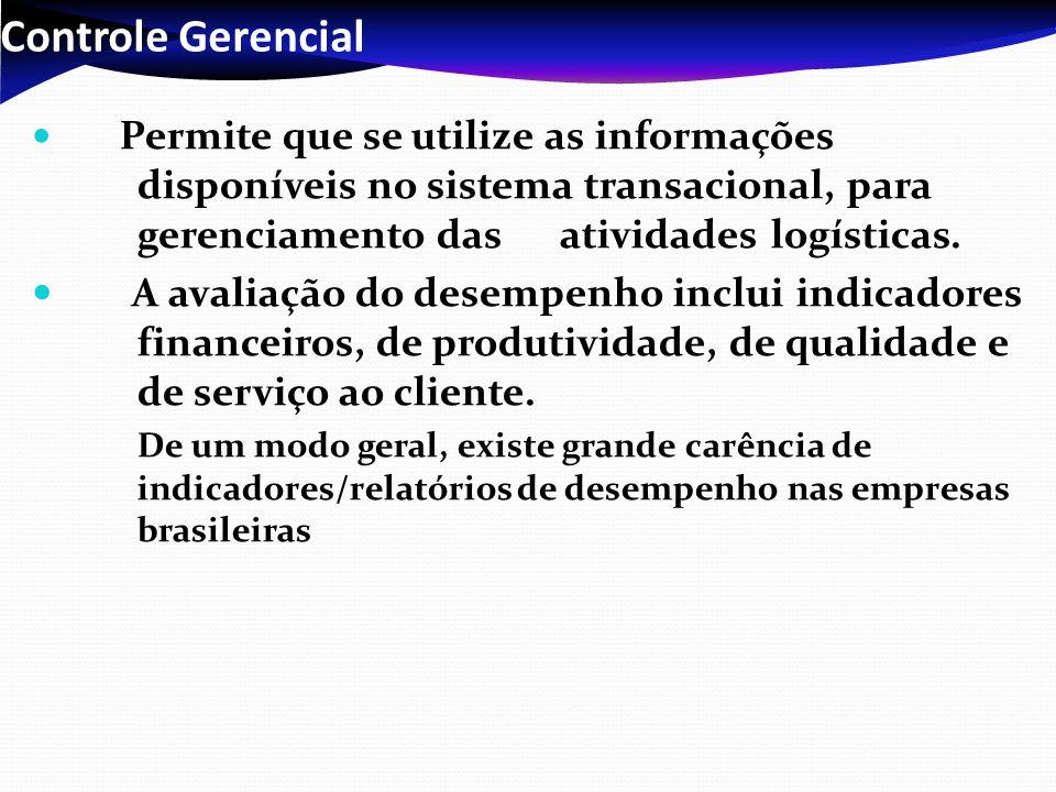 Controle Gerencial Permite que se utilize as informações disponíveis no sistema transacional, para gerenciamento das atividades logísticas.