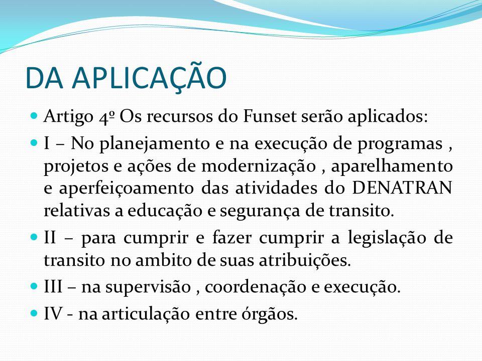 DA APLICAÇÃO Artigo 4º Os recursos do Funset serão aplicados: